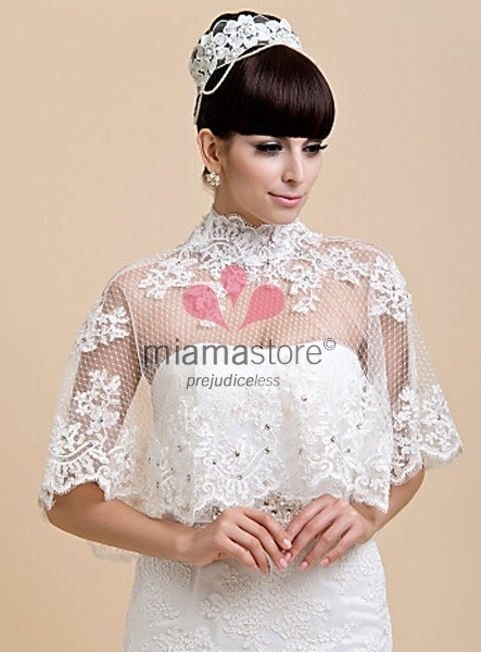 mantellina sposa bordo in pizzo