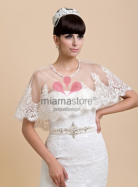 Mantellina in Tulle con Pizzo