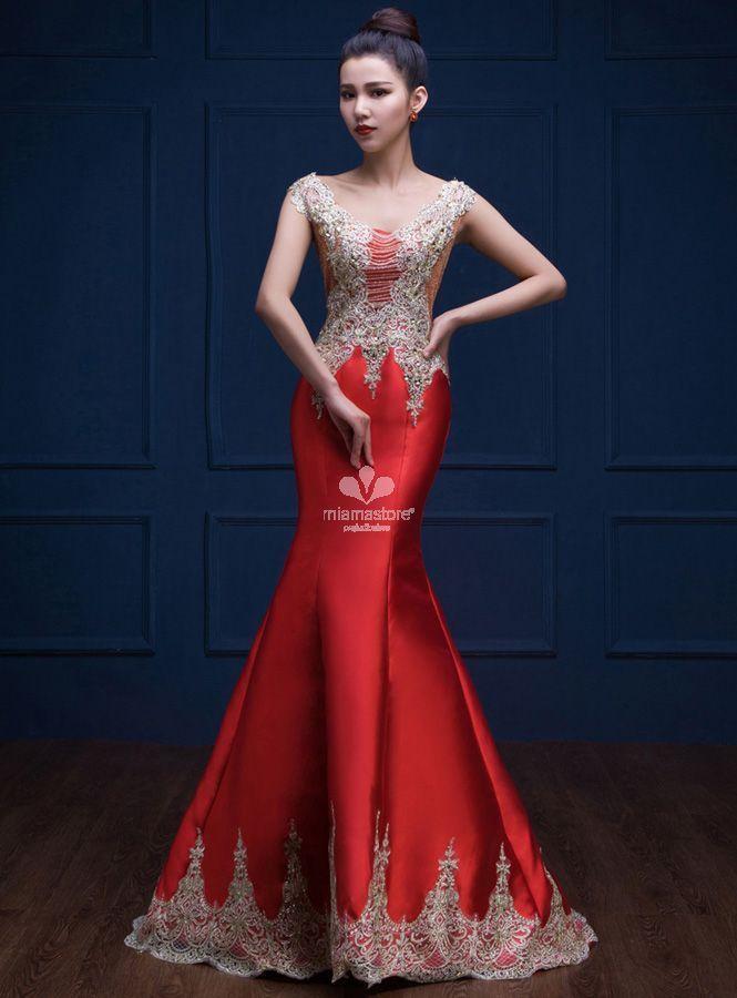 abito-per-occasioni-speciali-molto-elegante-rosso -con-applicazioni-dorate-di-pizzo 641d0ef5ecf