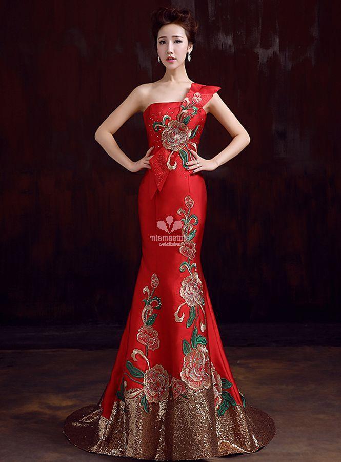Abiti Da Sera X Capodanno.Vestito Da Sera Per Occasioni Speciali Rosso Con Applicazioni Di