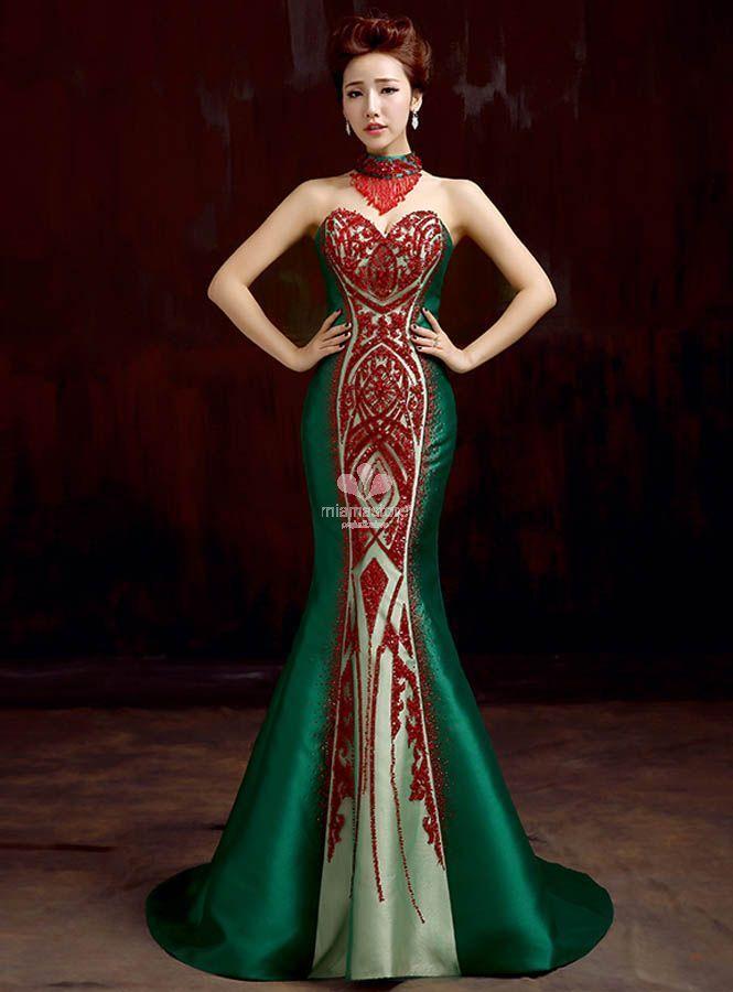 vestito-lungo-da-sera-per-occasioni-speciali-con-scollo-a-cuore-di-raso-verde-con-paillettes-rosse-