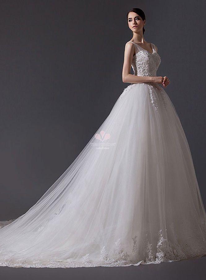 24c429707d6d abito-da-sposa-principesco-con-gonna-in-tulle-e-bretelle-semplici ...