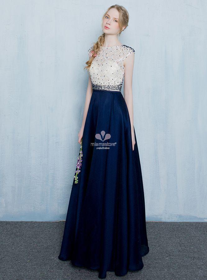 brand new fd072 fa492 abito-da-sera-elegante-blu-e-bianco-con-punti-luce-in-pronta ...