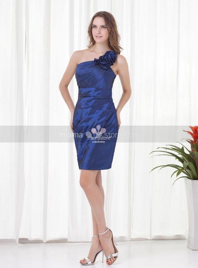 abiti-da-cerimonia-blu-taffetà-corti-monospalla-online