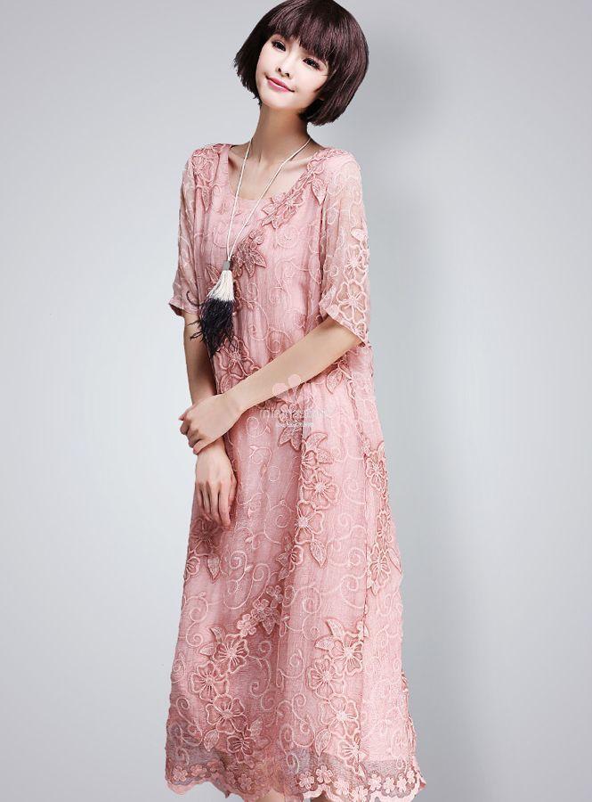 abito-elegante-in-pura-seta-rosa-con-ricami-tono-su-tono - Blog ... bb2a6e856cf