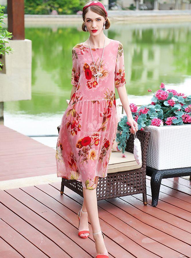 best service 32d7a 3f845 abito-sotto-al-ginocchio-in-seta-rosa-con-fantasia-floreale ...