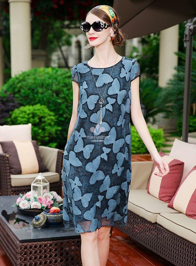 newest 11d19 d1109 vestitino-estivo-a-stampa-blu-di-seta-100 - Blog MiamaStore
