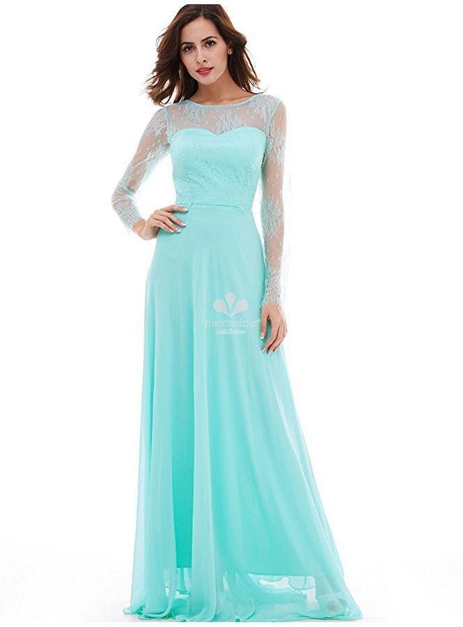 online retailer 6a8cd dffe0 abito-da-cerimonia-lungo-verde-acquamarina-con-maniche-di ...